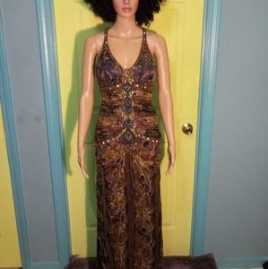 MULTI-COLORED SUE WONG EVENING GOWN